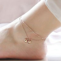 Gold-Color Silver Color Multi Layer Link Chain Com Bels Shape Tornozeleiras Para Mulheres Beach Barefoot Sandals Foot Jewelry