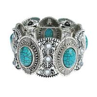 legierung silber türkis großhandel-Art und Weise neue Türkis-Armbänder Unisex-Silber überzogene böhmische Armbänder Natürliche Türkis-Armband-Legierungs-Armband-Türkis-Schmucksachen