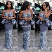 Wholesale Girls Peplum Dresses - Aso Ebi Black Girls Mermaid Prom Dresses With Sheer Neck Sexy Peplum Celebrity Evening Gowns Lace Applique African Party Cocktail Dress 2017