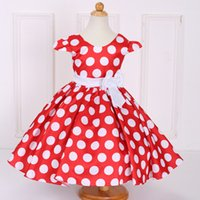 Wholesale cute baby polka dot dress resale online - Baby Kids Clothing Flower Girls Dresses vintage Princess Bow Polka dot Printed Ball Gown cute toddler pageant dress TuTu Party gowns L616