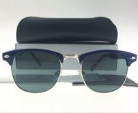 Wholesale Royal Pc - 1pcs Fashion Designer Sunglasses Semi Rimless Sun Glasses For Mens Womens Royal Blue Frame Black Lens 51mm Glass Lenses With Cases