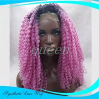Wholesale Lace Wigs Korea - Heat Resistant Korea Fiber Black Roots To Purple Ombre Two Tone Afro Kinky Curly Synthetic Lace Front Wig Natural Hairline Women