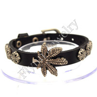 Wholesale Maple Watch - Leather Bracelets Bangles Jewelry Maple Leaf Charms Bracelets Accessories Watch Band Design Adjustable Hip Hop Women Mens Jewelry