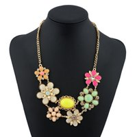 Wholesale Resin Floral Necklace - Bohemia Gems Flower Crystal Pendants Statement Multilayer Choker 4 Colors Rhinestone Floral Necklaces Women Jewelry 2017 Fashion Gift