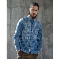 Wholesale Chemises China - 2017 Brandnew Men's Cargo Denim Shirts Casual Fashion Grid Jacquard High Quality Chemise Homme Imported-china Vintage Clothes