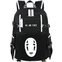 Wholesale boys black face mask for sale - Group buy Mr no face picture backpack Totoro daypack Mask man schoolbag Cartoon rucksack Sport school bag Outdoor day pack