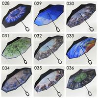 Wholesale Handle Designs - 2017 New C Handle Inverted Umbrellas 46 colors Non Automatic Protection Sunny Umbrella Paraguas Rain Reverse Umbrella Special Design
