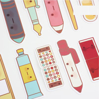 Wholesale Cartoon Post Card - 6 Set Lot School Items Book Marks Post Card Marker Office Supplies Cute Stationery Paper Bookmark Marcapaginas De Papel