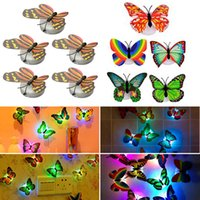 Wholesale Beautiful Butterfly Lamp - Wholesale- 5PCS Lovely Creative Color Changing ABS Butterfly LED Night Lights Lamp Beautiful Home Decorative Wall Nightlights Random
