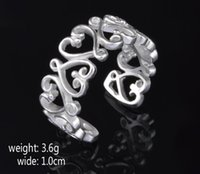 2017 hot sale best price! 925 Sterling Silver Exaggeration 10mm coração Aperto anel encantos moda jóias 10pcs / lot