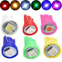Wholesale pinball light - 100pcs T10 194 168 192 W5W 5050 1smd 1led bright Auto led car license plate light wedge instrument side led lamp for pinball 12v