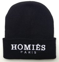 Wholesale Homies Top - Hot Sale black Homies Paris beanies hats hip hop street embroidered beanie winter caps knitted caps 1 piece free shipping HF