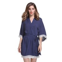 Wholesale Pink Wedding Colors - New Solid Cotton Kimono Robes With Lace Trim Women Wedding Bridal Robe Short Belt Bathrobe Sleepwear 7 colors Free Shipping