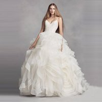 Wholesale Images Bridal Gowns Rosette - Amazing Organza Rosette Wedding Dress Ball Gown Sexy Backless Layer Skirt Crystal Designer Spaghetti Strap Sleeveless Bridal VW351371