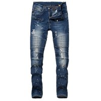 Wholesale Distress Ink - Wholesale-Mens Distressed Motorcycle Denim Joggers Ink Splash Fashion Brand Designer Slim Fit Ripped Biker Jeans Pants For Male LQ200