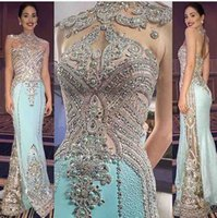 Wholesale Deep Blue Rhinestones - Custom Made 2017 Bling Crystal Rhinestones Evening Dress fouadsarkis High Neck Floor-length Beading Ployester Prom Dresses Celebrity Dress