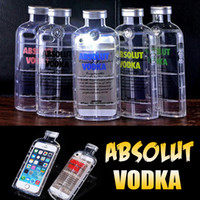 Wholesale Beer Cover Iphone - 3D ABSOLUT VODKA Wine Beer Bottle Design Transparent Clear Crystal Anti-shock Soft TPU Silicone Cover Case For iPhone 6 6S Plus SE 5 5S
