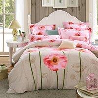 Wholesale Comforter Lotus - Fashion girls lotus floral bedding set king queen size duvet cover bed flat sheet bed linen pillowcases 4pcs 100%cotton