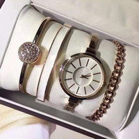 Wholesale Gold Ring Watch For Women - Hot Sale Women 4 Sets watch ring bracelet Luxury brand Fashion Gold Quartz wrist watches for ladies Female girls With Gift Box