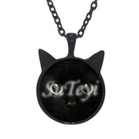 black cat chat - Newest fashion Cat Face Black Cat Pendant Necklace Ear Jewelry Chat Girls Glass Cabochon Declaration Necklace