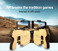kraft spielzeug großhandel-DIY Augmented Reality AR Gun mit Handy Ständer Halter Drahtlose Bluetooth Holz AR Toy Game Gun mit 3D AR Spiele für Telefon