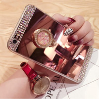 Wholesale Cover Diamond For Cellphone - Bling Diamond Mirror Cellphone Case Hard Protective Cover With Ring Holder Stand For iPhone 5 5s 6 6s 7 7 plus Samsung S 4 5 6 7 S8 S8 Plus