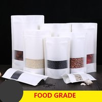 Wholesale Plastic Snack Bag - White Kraft paper bags Stand up Pouch With window Kraft small retail bag Food grade Moisture proof For Snack Cookie Beans Candy etc.