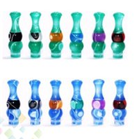 Wholesale Colour Tips - Super Style Colour Mix Acrylic Mouthpiece Trumpet Drip Tip 510 For 510 thread Clearomizer Electronic Cigarette