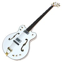 Wholesale bass bodies - High Quality Semi-hollow Electric Bass with White Body and 22 Frets,Gold Hardware,can be Customized