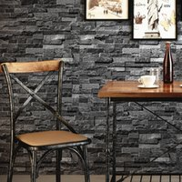 Wholesale Grey Paper Roll - Retro Nostalgic Brick Wall Wallpaper Grey 3D Effect Stone Brick Wallpaper For Walls Roll Living Room Restaurant Wall Decoration