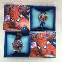 Children's spiderman watch box - Cartoon Spiderman Wristwatch watch with box Kids Gift C