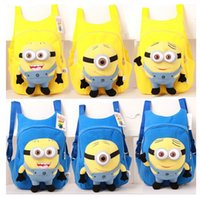 Wholesale Despicable Plush Backpack - Top Quality Cute 3D Eye School Bags For Teenagers Despicable Me Minion Plush Kid Cartoon Backpack Children Shoulder Bag