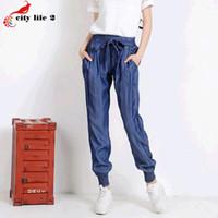 Wholesale Wide Fat Woman - Wholesale- Elastic Waist Drawstring Jeans Loose Pants Tencel Female Summer Leisure Wide Leg Pants 2016 New Fat Pants Elastic Cuff Plus Size
