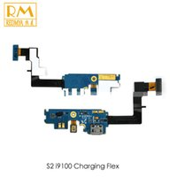 Wholesale Dock Connector Charging S2 - DHL 50pcs lot For Samsung Galaxy S2 i9100 Flex Cable Ribbon Charging Port Dock Connector USB Socket Charging Flex Replacement Parts