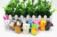 Wholesale Cartoon Deck - Plush toys for children finger Puppets Finger animal Double-deck little figurine Cartoon Free Delivery