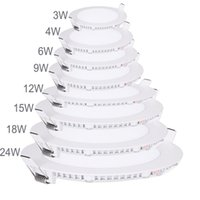 Wholesale 20pcs Ultra Bright W W W W W W W Led Ceiling Recessed Downlight Round Panel light Led Panel Bulb Lamp Light