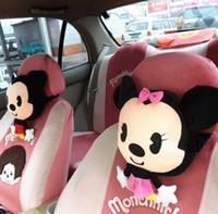 Wholesale Cartoon Headrest - Auto Accessories Mickey Mouse Car Headrest Pillow Cartoon Minnie Car Neck Pillow Cushion Support Girlfriend Birthday Lovely Gift