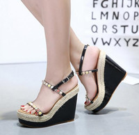 Wholesale Sexy Colorful Wedges - women wedge sexy high heels colorful beading shoes straw woven platform sandals pink white black Size 34 to 40