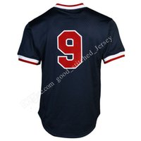 Wholesale Ted Free Shipping - Men's baseball jerseys 9# Ted Williams100% stitched Mesh Throwback Embroidery Jersey Fast free shipping