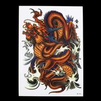 Wholesale Tattoo Dragons Designs - Body Art Temporary Tattoos 8 Pieces Dragon Pattern Design Temporary Tattoo Sticker Women Men Shoulder Body Art Flower Wave Waterproof Tat...