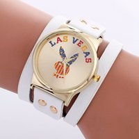 Wholesale Wholesale Las Vegas - 2017 new Las Vegas rabbit printing leather fashion women bracelet watch wholesale casual retro ladies dress quartz party watches