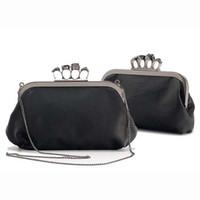 Wholesale Designer Evening Bag Clutch Ring - Wholesale-Women Finger Knuckle duster Ring diamond Skull frame black Day Clutch Evening purse Bag,Punk Designer item