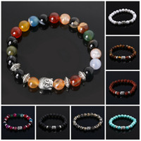 Wholesale Acrylic Stone Bracelets - Mens Bracelets Luxury Jewelry Bead Natural Stone Jewelry Cheap Anchor Beaded Buddha Bracelets For Men Women Buddha Lava Chakra Bracelet