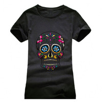 Wholesale Skull Printed Shirt Girl - Wholesale-Beautiful Skull Printing T shirt Women Fashion Camisetas T-Shirt Streetwear Cotton girls Summer Style top tees red black grey