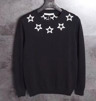 Wholesale Black Scoop Neck Sweater - Black and red Stars Sweater Long sleeve knit wool Rib knit crewneck collar cuffs and hem embroidered Stars appliqués at front and back