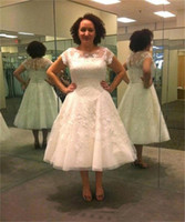 Cheap Plus Size Tea Length Wedding Dresses Free Shipping Plus