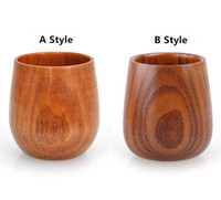 Wholesale Wood Wine Glasses - 2017 Top-Grade 5oz Wine Glasses Natural Solid Wood Wooden Tea Cup Wine Mug 150ml wooden coffe mugs by dhl free shipping