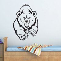 Wholesale Black Bear Small Wall Decal - Grizzly Bear Wall Stickers For Children Animals Predator Wall Art Stickers Home Decorations Vinyl Wall Decals Removable