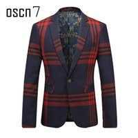 OSCN7 Navy Blue Red Plaid Herren Blazer Slim Fit Freizeit 2017 Neueste Business Formal Blazer Masculino Plus Size Herren Anzug Jacke