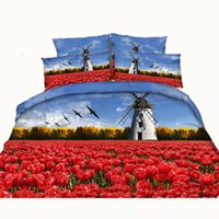 Wholesale Bedding Sets 3d Tulips - Red Tulips Lighthouse 3D Printed Bedding Sets Twin Full Queen King Size Bedspreads Bedclothes Duvet Covers Pillow Shams Comforter Windmill